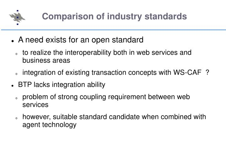 Comparison of industry standards