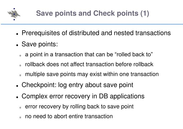 Save points and Check points (1)
