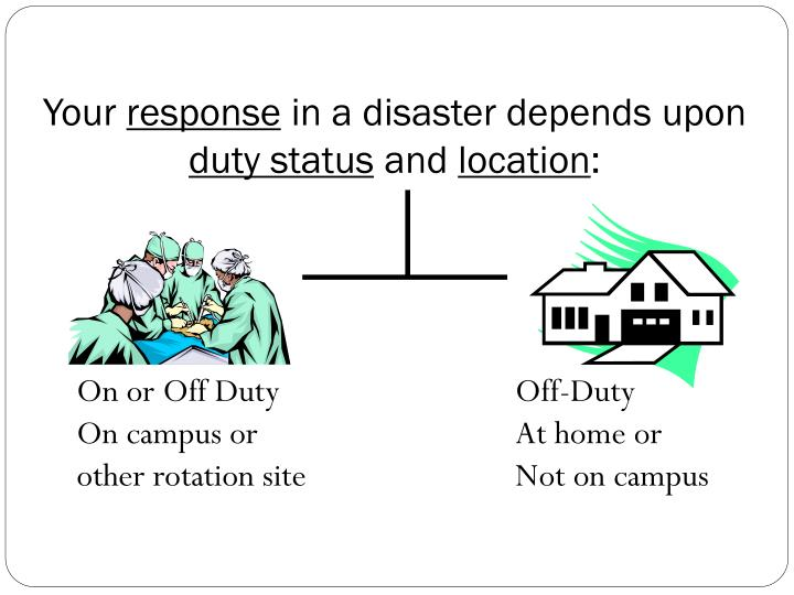 Your response in a disaster depends upon duty status and location