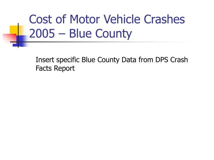Cost of Motor Vehicle Crashes