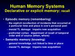 human memory systems declarative or explicit memory recall