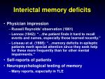 interictal memory deficits