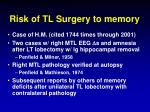risk of tl surgery to memory