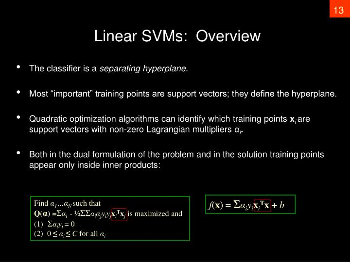 Linear SVMs:  Overview