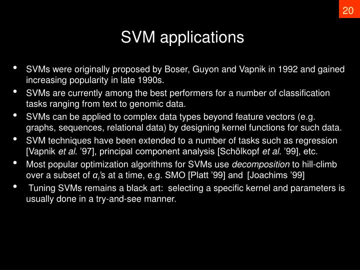 SVM applications