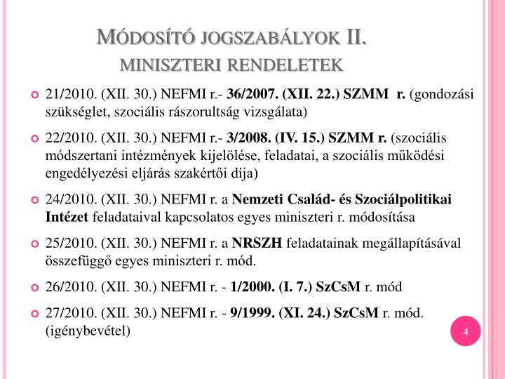 Módosító jogszabályok II.