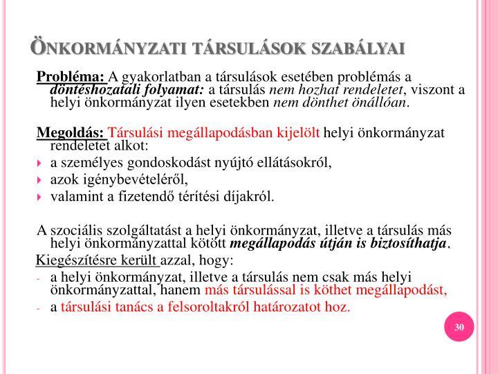 Önkormányzati társulások szabályai
