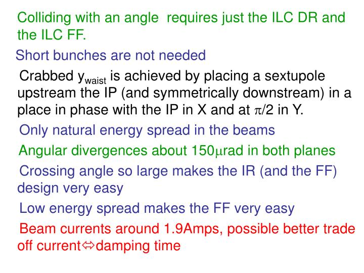 Colliding with an angle  requires just the ILC DR and the ILC FF.