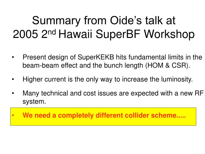 Summary from Oide's talk at