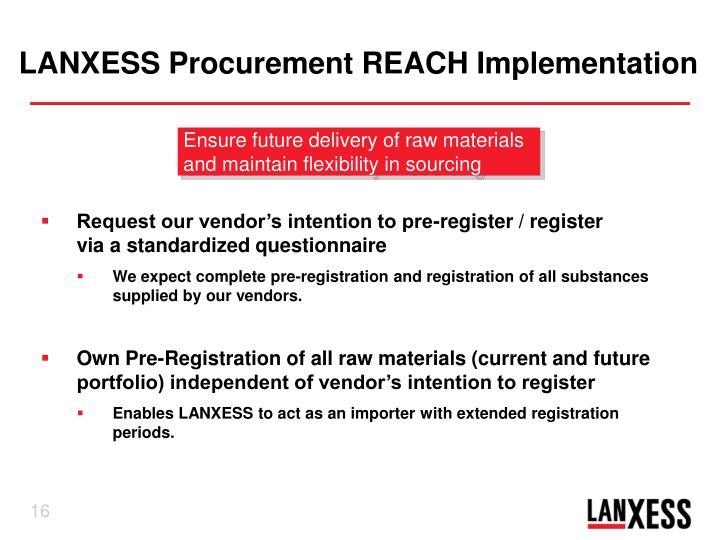 LANXESS Procurement REACH Implementation