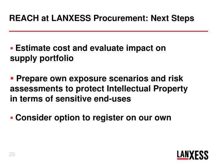 REACH at LANXESS Procurement: Next Steps