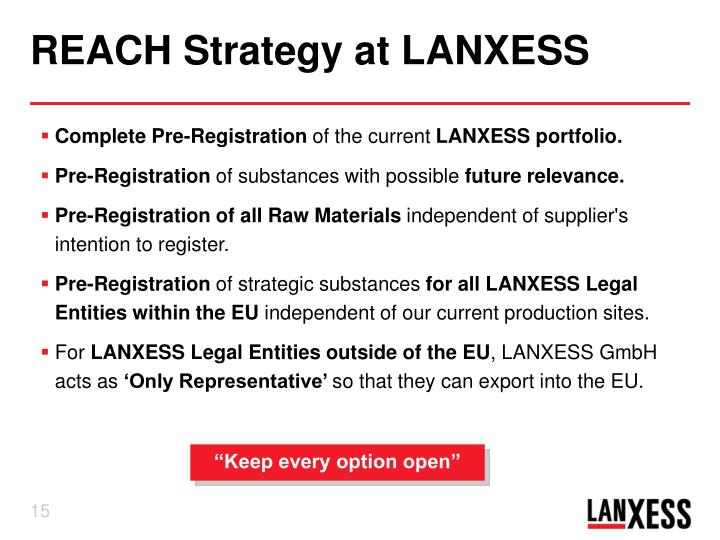 REACH Strategy at LANXESS