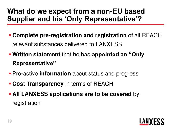 What do we expect from a non-EU based Supplier and his 'Only Representative'?