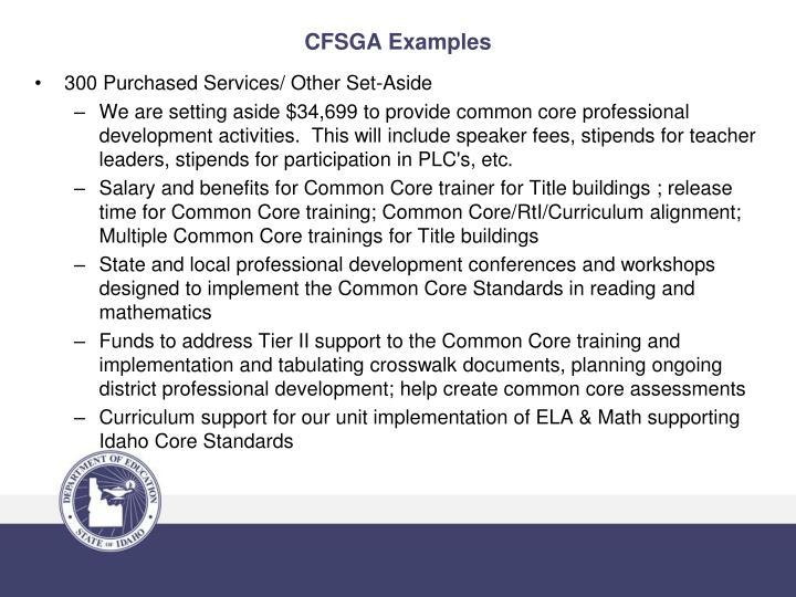 CFSGA Examples