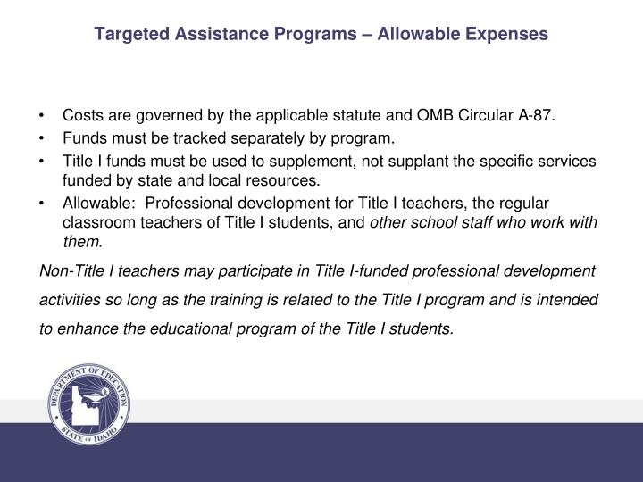 Targeted Assistance Programs – Allowable Expenses