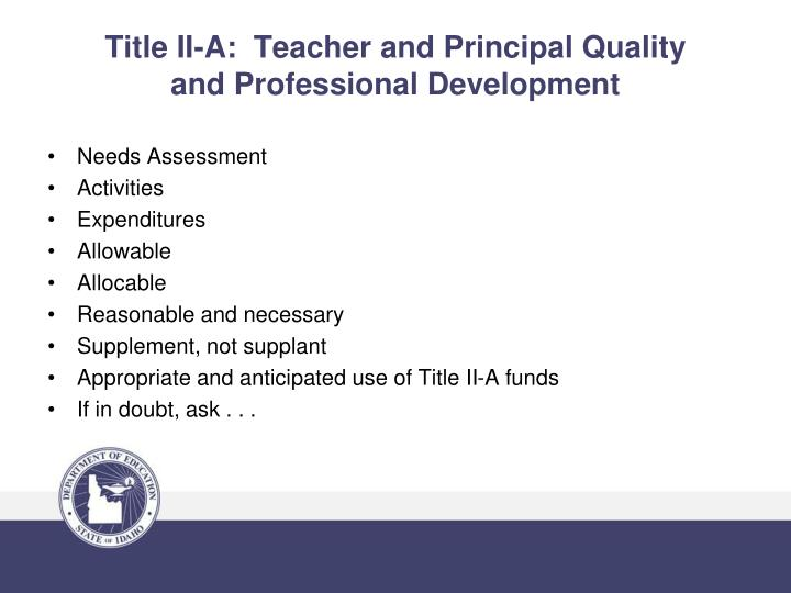 Title II-A:  Teacher and Principal Quality