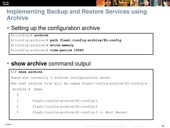 Implementing Backup and Restore Services using Archive