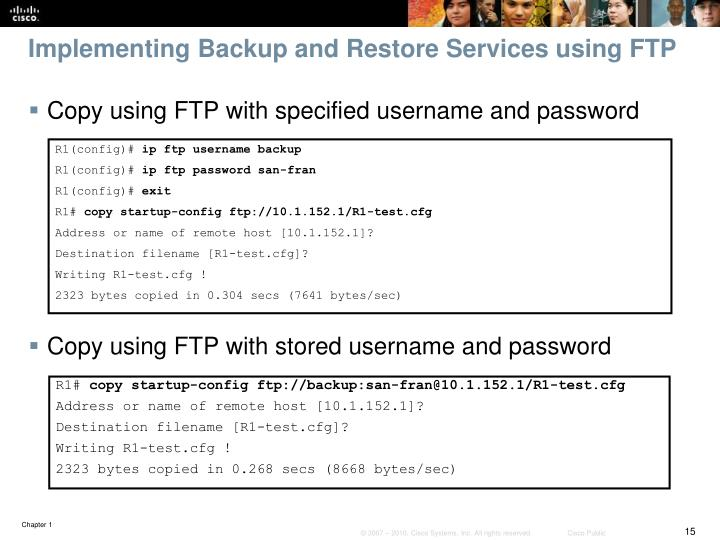 Implementing Backup and Restore Services using FTP