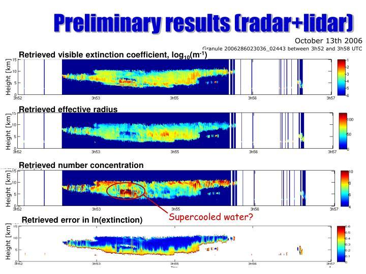Preliminary results (radar+lidar)