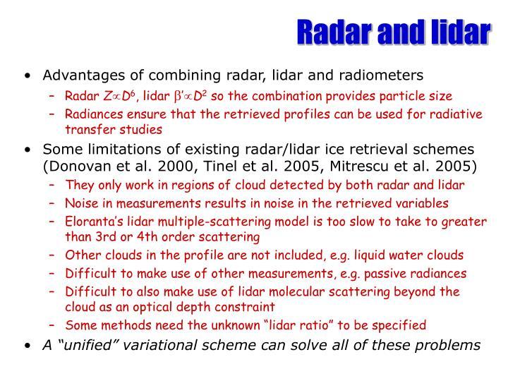 Radar and lidar
