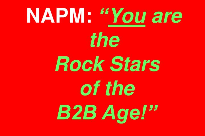 Napm you are the rock stars of the b2b age