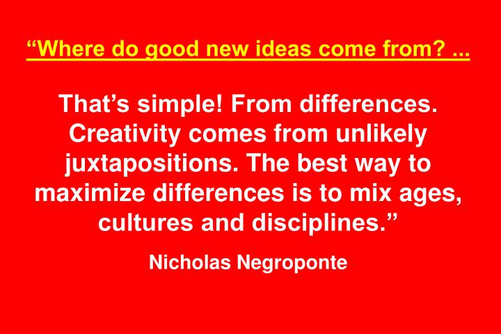 """""""Where do good new ideas come from? ..."""