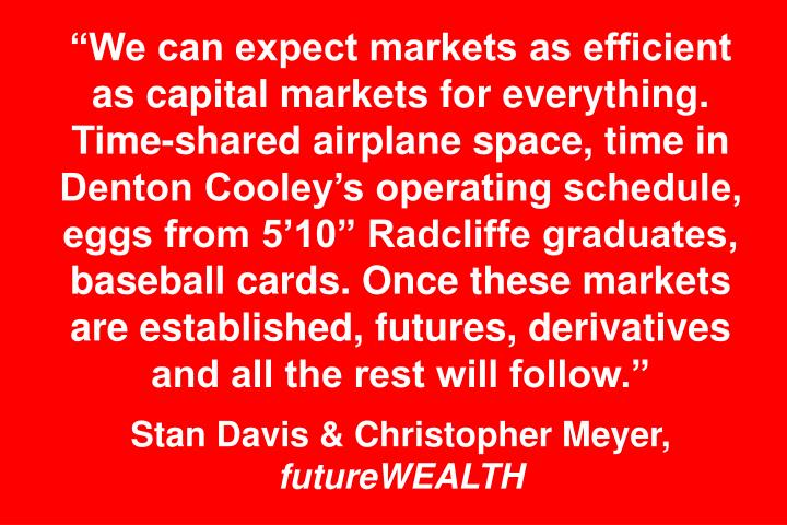 """""""We can expect markets as efficient as capital markets for everything. Time-shared airplane space, time in Denton Cooley's operating schedule, eggs from 5'10"""" Radcliffe graduates, baseball cards. Once these markets are established, futures, derivatives and all the rest will follow."""""""