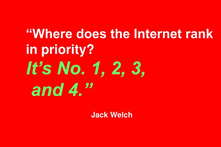 """""""Where does the Internet rank in priority?"""