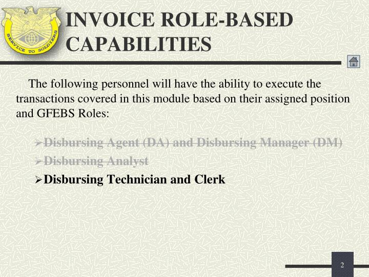 Invoice role based capabilities