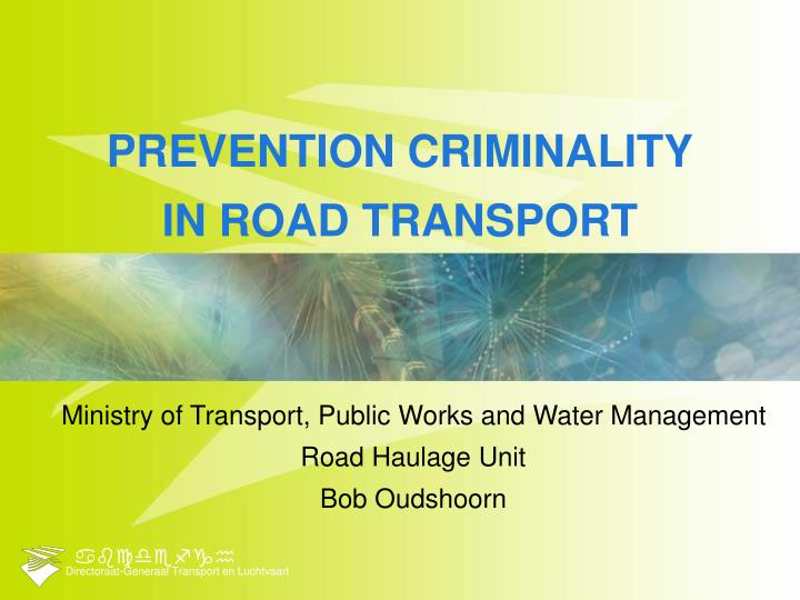 Prevention criminality in road transport