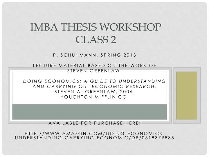 Imba thesis workshop class 2
