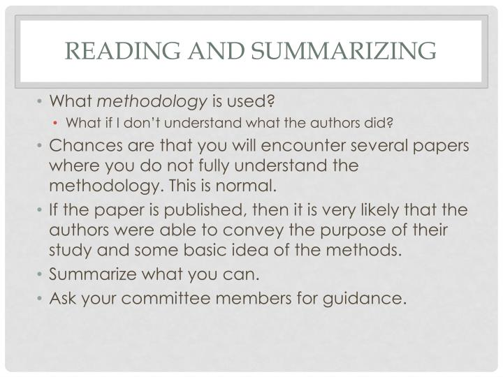 Reading and summarizing