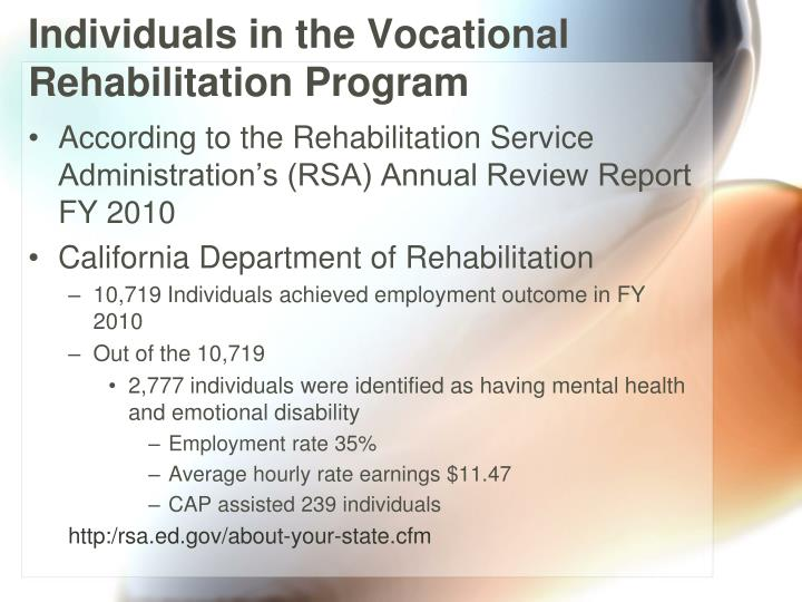 Individuals in the Vocational Rehabilitation Program