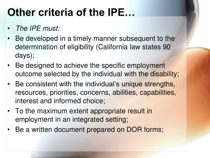 Other criteria of the IPE…