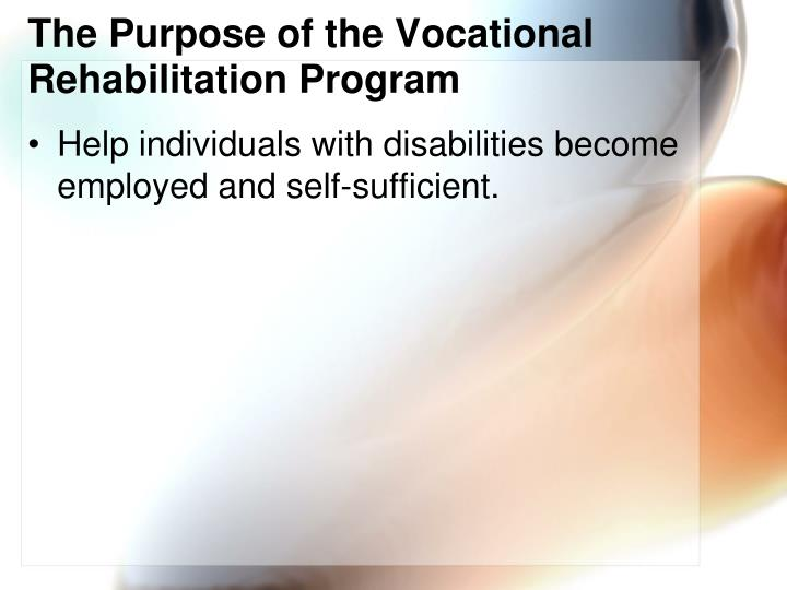 The Purpose of the Vocational Rehabilitation Program