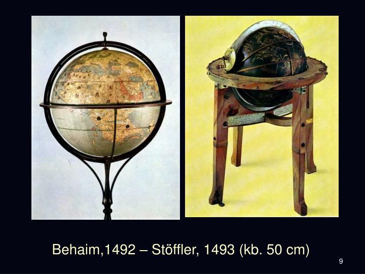 Behaim,1492 – Stöffler, 1493 (kb. 50 cm)