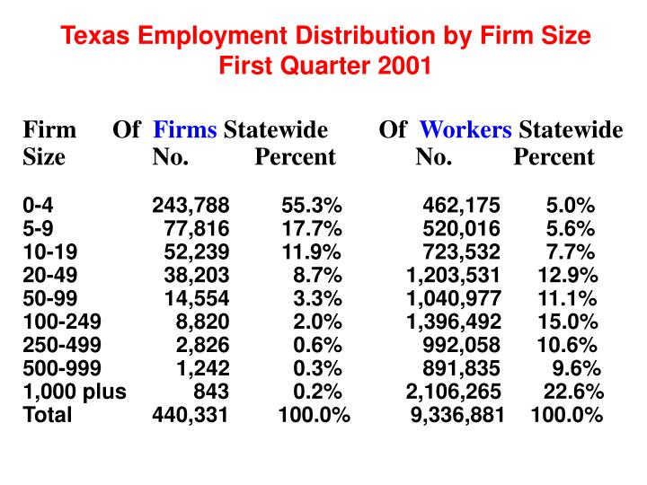 Texas Employment Distribution by Firm Size