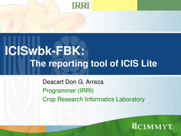 Iciswbk fbk the reporting tool of icis lite