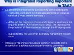 why is integrated reporting important to taa
