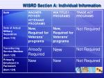 wisrd section a individual information1