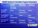 wisrd section b one stop program information2