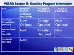 wisrd section b one stop program information5
