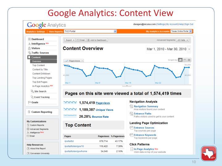 Google Analytics: Content View