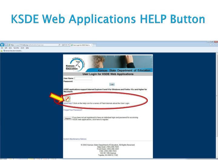 KSDE Web Applications HELP Button