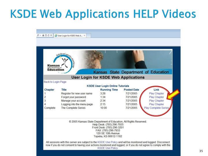 KSDE Web Applications HELP Videos