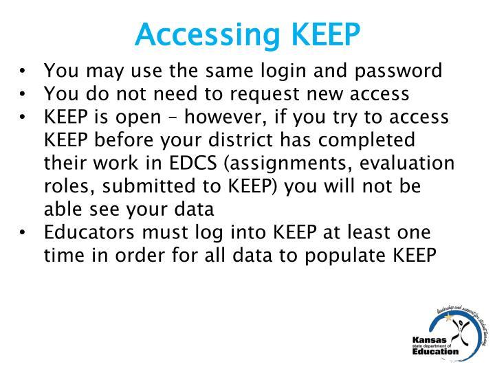 Accessing KEEP
