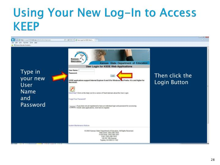 Using Your New Log-In to Access KEEP