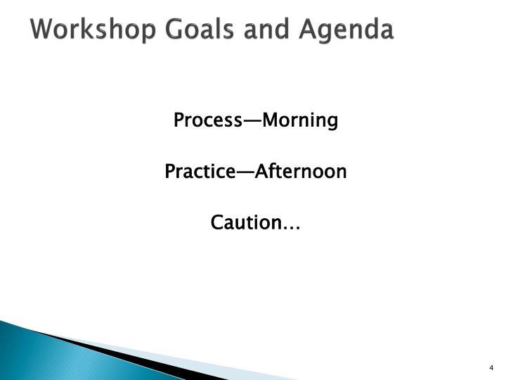 Workshop Goals and Agenda