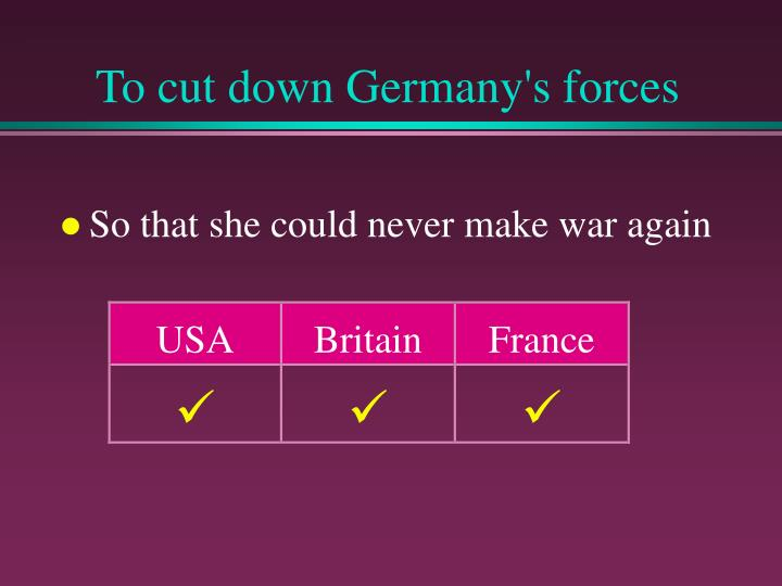 To cut down Germany's forces