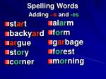 spelling words adding s and es